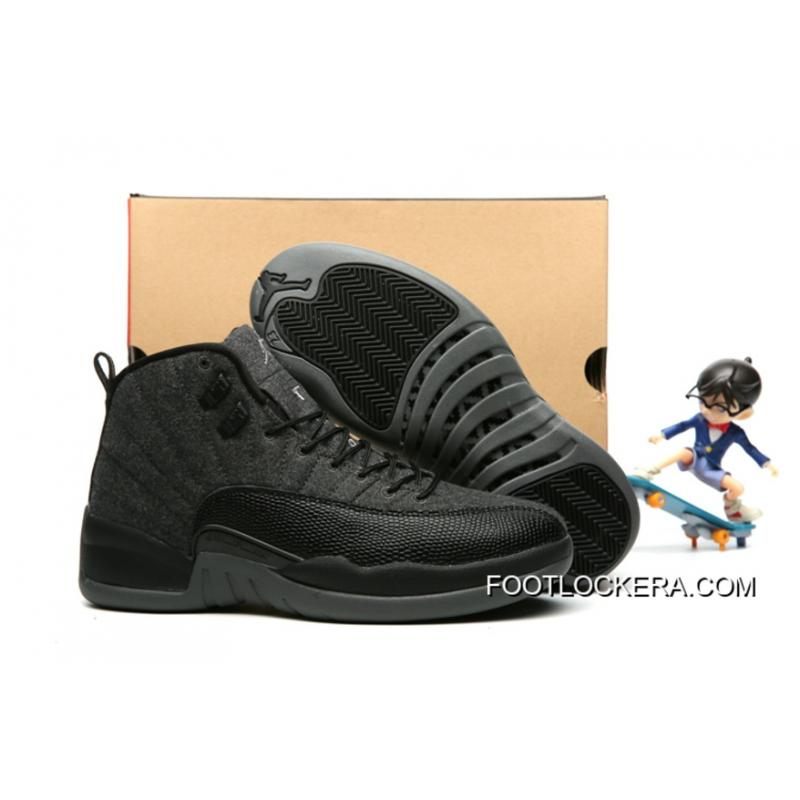 "91ae329a26419 Nike Air Jordan 12 ""Wool"" Dark Grey Black Metallic Silver Cheap To Buy ..."
