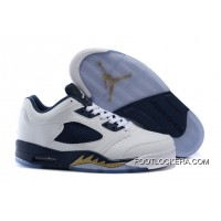 "Nike Air Jordan 5 Low ""Dunk From Above"" White/Metallic Gold Star-Midnight Navy New Release"