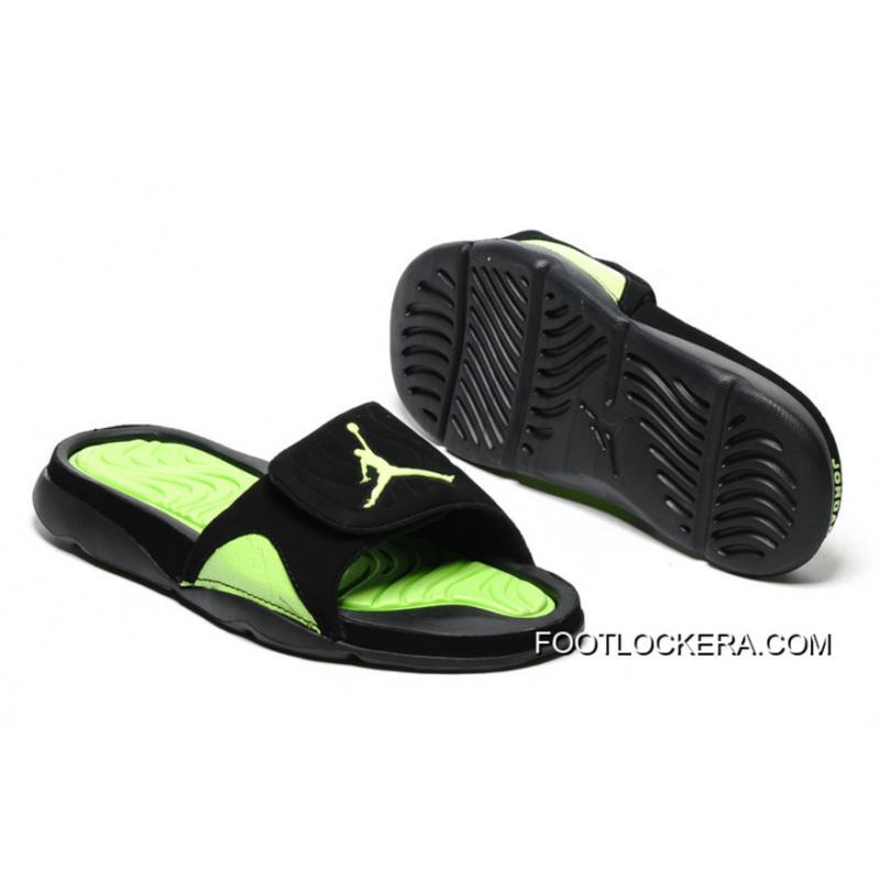 73e336c4392e6 Nike Air Jordan Hydro IV Retro Black Green Slide Slippers Authentic ...