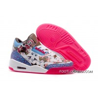 Nike Air Jordan 3 GS School Season Brown Blue Pink Shoes Lastest