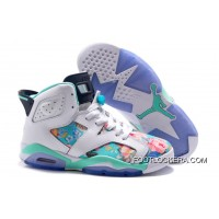 "Nike Air Jordan 6 GS ""Floral Print"" White Blue Lastest"