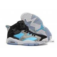 "Nike Air Jordan 6 GS ""Leopard Print"" Black Blue White Authentic"