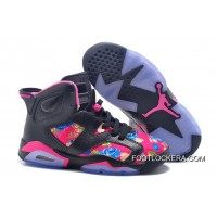 "Nike Air Jordan 6 GS ""Floral Print"" Black Pink Shoes Authentic"