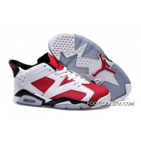 "Nike Air Jordan 6 GS ""Carmine"" White/Carmine-Black Free Shipping"