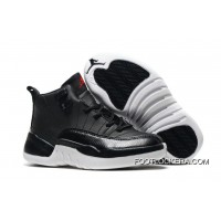 "Kids Air Jordan 12 ""Black Nylon"" Black/White-Gym Red Lastest"