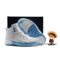 "Kids Air Jordan 12 ""Melo"" White/Metallic Gold-University Blue Free Shipping"