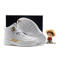 Kids Air Jordan 12 All White Gold Super Deals