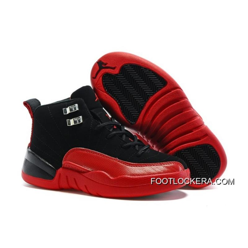 buy online bb0e2 1878c Kids Nike Air Jordan 12 Black Red Fast Shipping Online