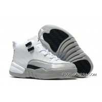 "Kids Air Jordan 12 ""Barons"" White/Black-Wolf Grey Super Deals"