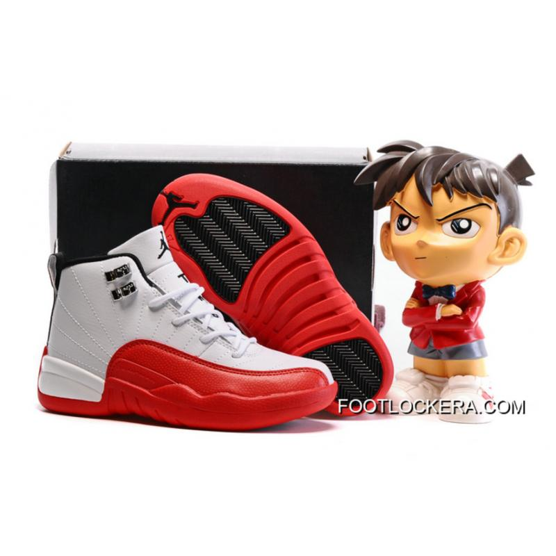 "5bfc5a6e609 Kids Air Jordan 12 ""Cherry"" White Gym Red-Dark Grey-Metallic Silver ..."