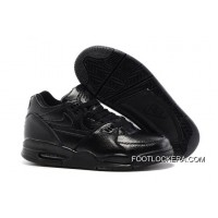 Nike Air Flight '89 All Black Leather Basketball Shoes Super Deals