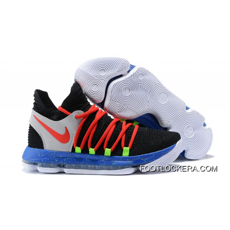 newest 03a9c 26162 Nike KD 10 Black/Red-Cool Grey-Blue New Year Deals