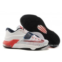 "Nike Kevin Durant KD 7 VII ""USA"" White/Obsidian-University Red Super Deals"
