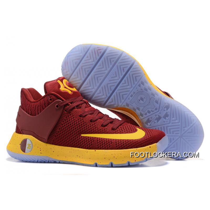 new concept c173b ebaa7 Newest Nike KD Trey 5 Knit Wine Red Yellow Shoes For Men Free Shipping ...