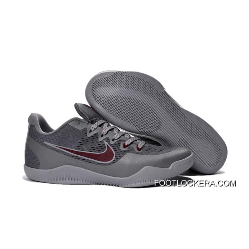 """competitive price 8bf61 3e6bb Nike Kobe 11 """"Aces"""" Cool Grey Team Red-Wolf Grey Top Deals ..."""