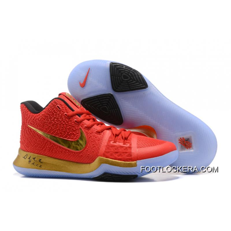 online retailer 16e5b 62651 Nike Kyrie 3 Red Gold Black PE Shoes For Men Discount ...