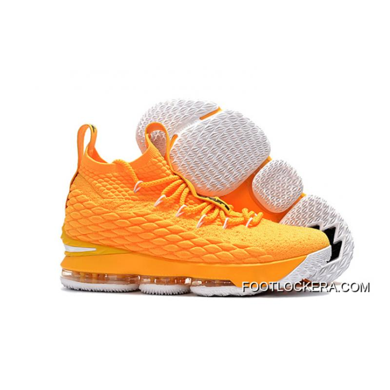 on sale 92409 f3f1c New Year Deals Nike LeBron 15 Yellow/White-Black Basketball Shoes