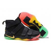 Nike LeBron Soldier 11 Black Gold Rainbow Online Free Shipping
