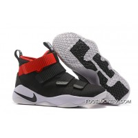 Nike LeBron Soldier 11 Black White Red PE Sneakers On Sale Authentic