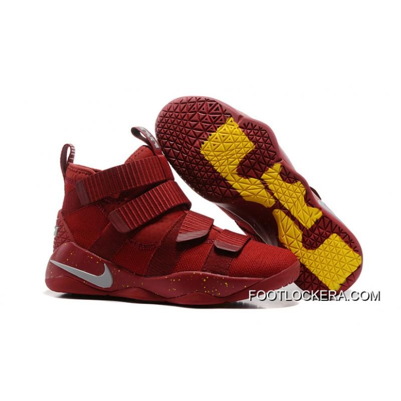 2017 Nike Lebron Soldier 11 Cavs Team Red Yellow Silver Shoes For Men Free Shipping