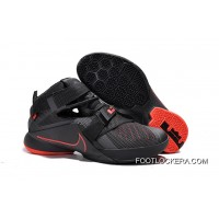 Nike LeBron Soldier 9 Black And Red Highlights Basketball Shoe Top Deals