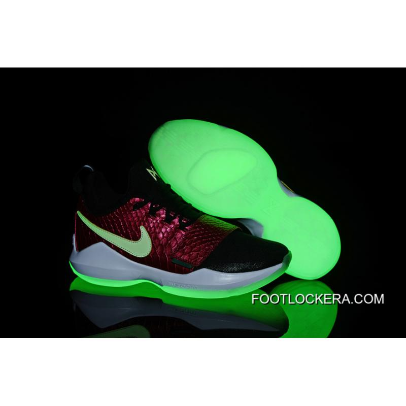 new concept 25df0 87e6e Latest Nike Zoom PG 1 Black/Wine Red Fish Scales Glow-in-the-dark Soles  Authentic