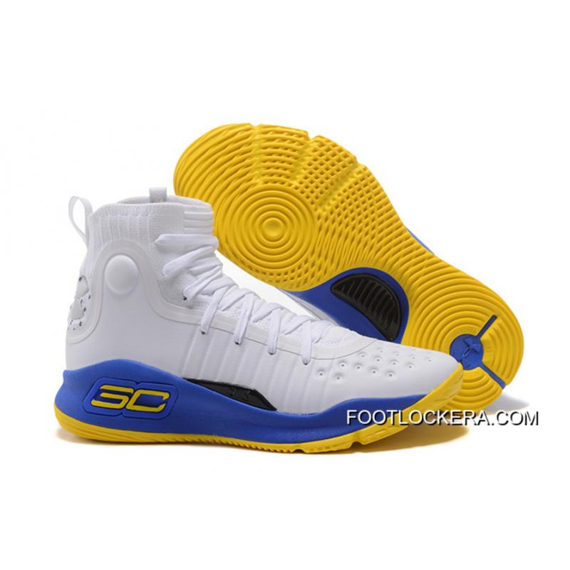 5acdbfb1248 Under Armour Curry 4 Basketball Shoes White Blue Yellow New Release ...