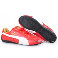 2018 Free Shipping Puma Speed Cat Leather Shoes Red/White