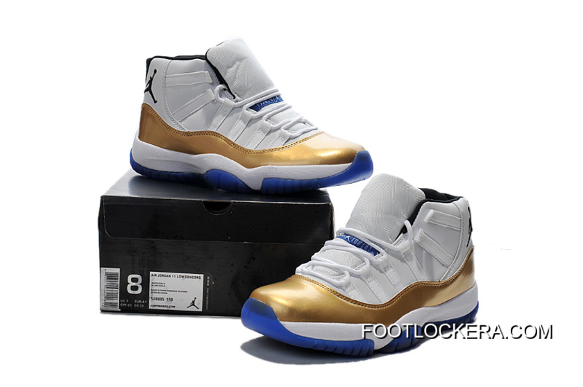 7d2f60c15fa0 Nike Air Jordan 11 Custom White-Gold True Blue Authentic