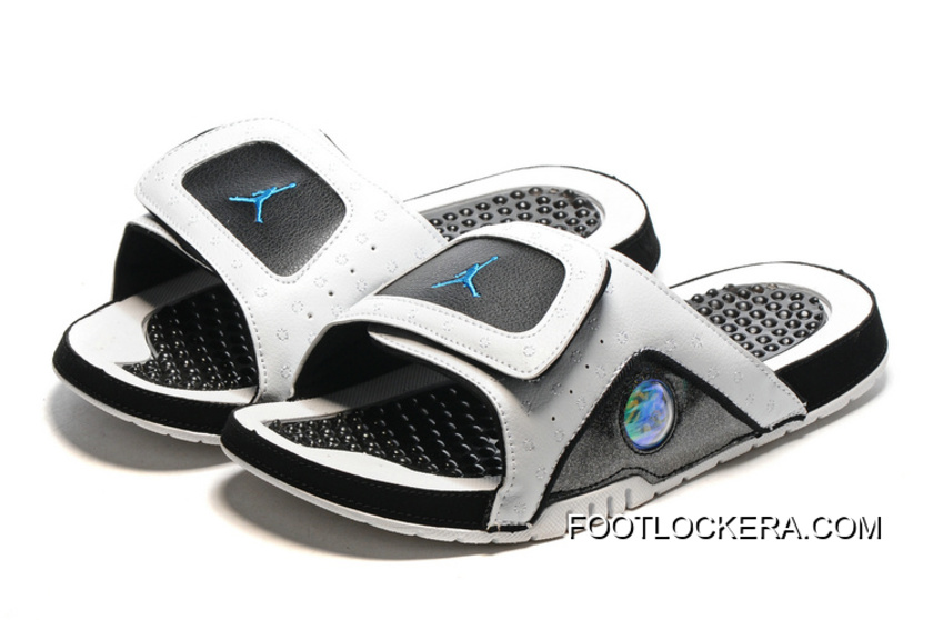 ee8255882 Nike Jordan Hydro 13 Slide Sandals White Black Blue Best