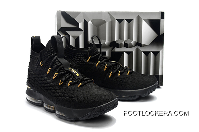 73568e0cce3 Nike LeBron 15 Black Gold Men Sneakers Hot Sell Online