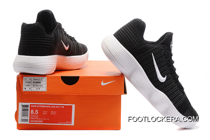 "f6fc6a2fb119 Latest Nike React Hyperdunk Low Flyknit ""Black White""Shoes For Men Super  Deals"
